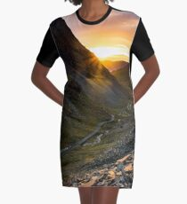 Honister Pass Sunset - The Lake District Graphic T-Shirt Dress