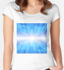 Abstract blue technology background with glow star Women's Fitted Scoop T-Shirt