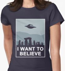 Believe in Stonehenge Womens Fitted T-Shirt