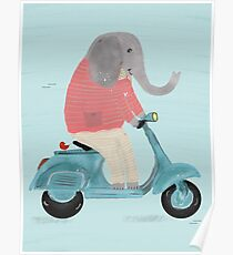 elephant scooter Poster