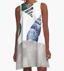 South pacific sea shells - silver graphite A-Line Dress