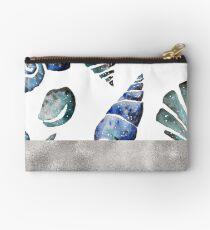 South pacific sea shells - silver graphite Studio Pouch
