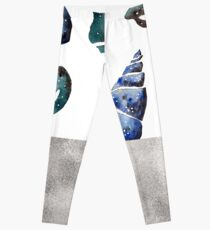 South pacific sea shells - silver graphite Leggings