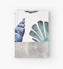 South pacific sea shells - silver graphite Hardcover Journal