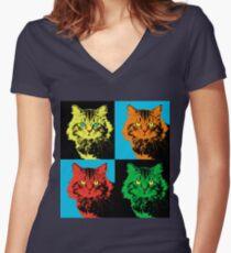 CAT POP ART  YELLOW RED GREEN Women's Fitted V-Neck T-Shirt