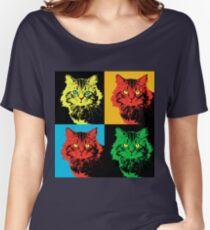CAT POP ART  YELLOW RED GREEN Women's Relaxed Fit T-Shirt