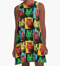 CAT POP ART  YELLOW RED GREEN A-Line Dress