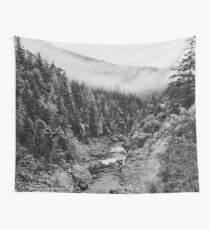 Black & White River in the Forest Wall Tapestry