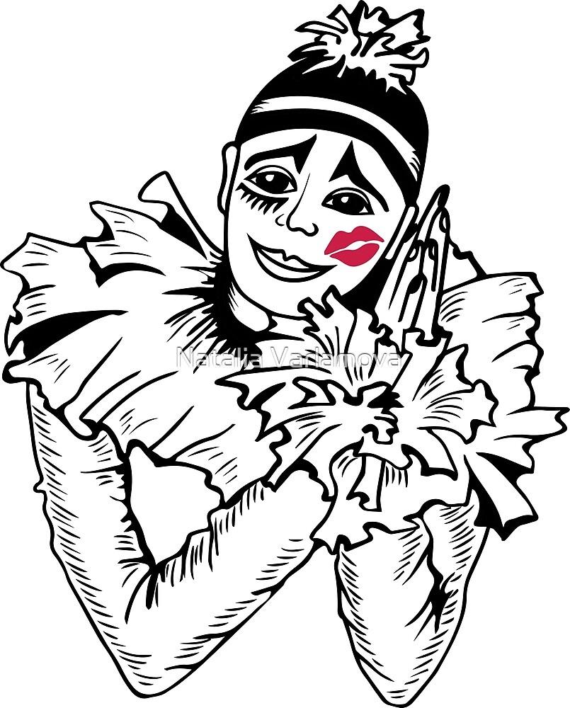 Pierrot with kiss on the cheek. by Natalia Varlamova