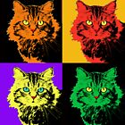 CAT POP ART  ORANGE YELLOW RED GREEN by NYWA-ART