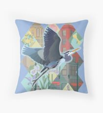 Great Blue Heron in Seattle Throw Pillow