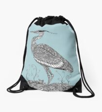 Black and White Zentangle Grey Heron Drawstring Bag