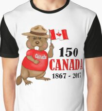 Proudly Canadian Beaver 150 Anniversary Graphic T-Shirt