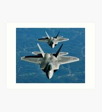 Two F-15's fly in formation behind a KC-10 Extender. Art Print