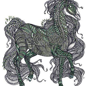 Zentangle art green Kelpie horse by TemplemanArt