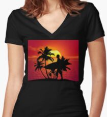 Shortboard Sunset Surfer Dude Women's Fitted V-Neck T-Shirt