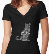 iGeneration iMeow Cat Women's Fitted V-Neck T-Shirt