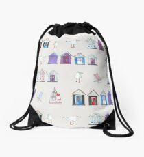 Beach Huts, Bournemouth - on grey - original watercolour pattern by Cecca Designs Drawstring Bag