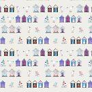 Beach Huts, Bournemouth - on grey - original watercolour pattern by Cecca Designs by Cecca-Designs