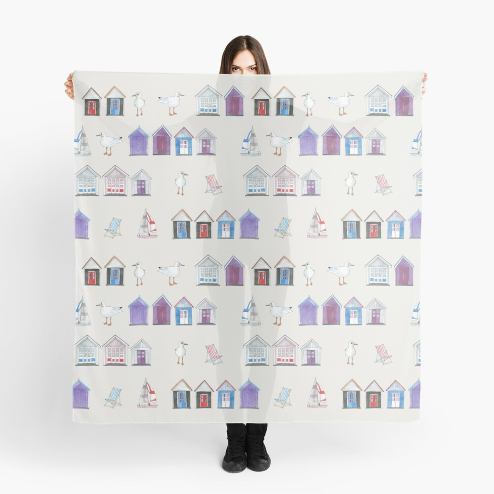 Beach Huts, Bournemouth - on grey - original watercolour pattern by Cecca Designs Scarf Front