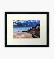 Stunning Tamarama beach and coastal rocks before sunrise Framed Print