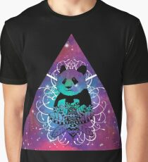 Black Panda in watercolor space background Graphic T-Shirt