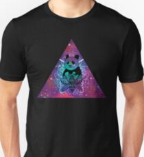 Black Panda in watercolor space background Unisex T-Shirt