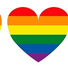 Hearts with gay flag (gay pride) by Beatrizxe