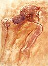 Male nude, portrait in gouache by Roz McQuillan