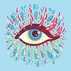 Weird Blue Psychedelic Eye by Boriana Giormova
