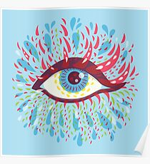 Weird Blue Psychedelic Eye Poster