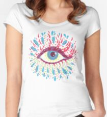 Weird Blue Psychedelic Eye Women's Fitted Scoop T-Shirt