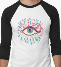 Weird Blue Psychedelic Eye Men's Baseball ¾ T-Shirt