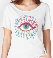 Weird Blue Psychedelic Eye Women's Relaxed Fit T-Shirt