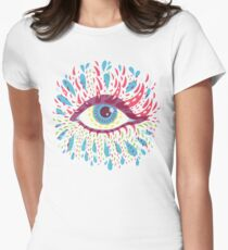Weird Blue Psychedelic Eye Women's Fitted T-Shirt