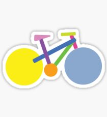 Modern Bicycle Geometric Bike in Bright Colors Sticker