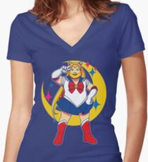 Sailor B - Moon Women's Fitted V-Neck T-Shirt