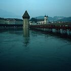 Covered Bridge and Jesuit Church Lucerne Switzerland 19840816 0001 by Fred Mitchell