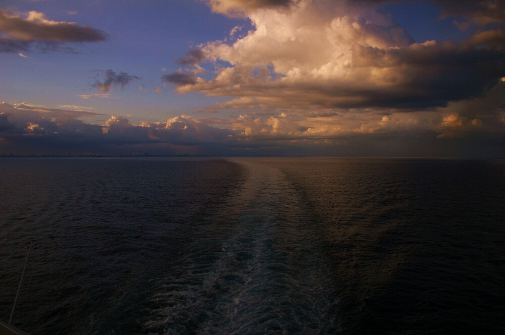 First sunset at sea by abryant