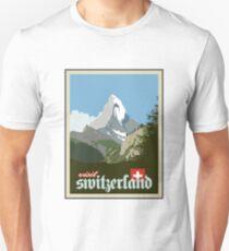 Visit Switzerland Vintage Travel Poster Graphic Unisex T-Shirt