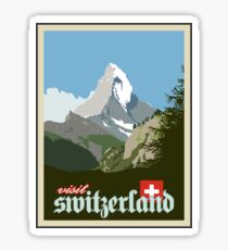Visit Switzerland Vintage Travel Poster Graphic Sticker