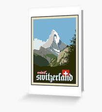 Besuchen Sie die Schweiz Vintage Travel Poster Grafik Grußkarte