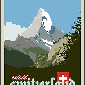 Visit Switzerland Vintage Travel Poster Graphic by axialdesigns