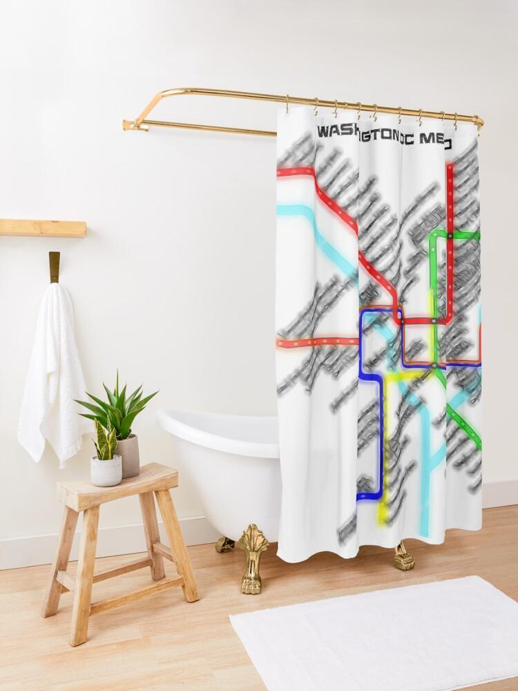 Alternate view of Washington DC Metro Map Shower Curtain