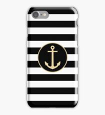 Anchor On Black And White Stripes iPhone Case/Skin