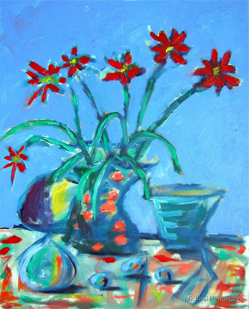 Still Life with Red Flowers by Michael Henderson