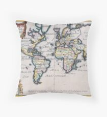 Map of the World; Nicolas De Fer; c 1724 Throw Pillow