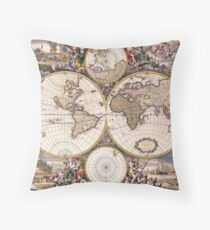 Double Hemisphere Polar Map; Frederick De Wit; c 1668 Throw Pillow