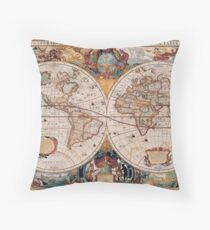 Double Hemisphere Map; Henricus Hondius; c 1630 Throw Pillow