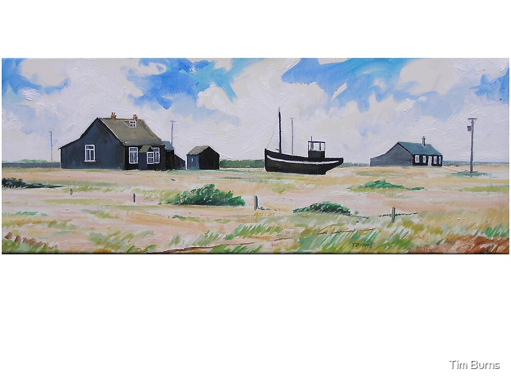 Black Boat and House, Dungeness by Tim Burns